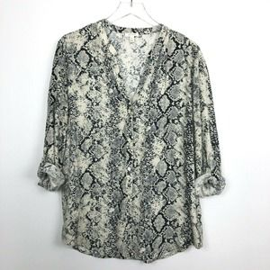 Soft Joie Snake Print Top Button Down Rolled Tab